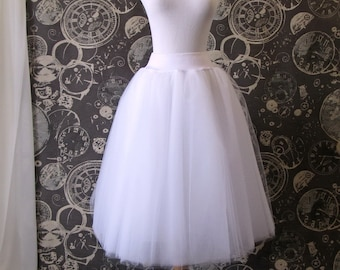 White Tulle Skirt with Stretch Waist - Tea Length Adult Tutu, Petticoat, Midi Skirt with Lycra Waistband - Custom Size, Made to Order