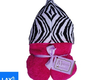 Baby Pink Zebra Pattern Custom Embroidered Hooded Towel