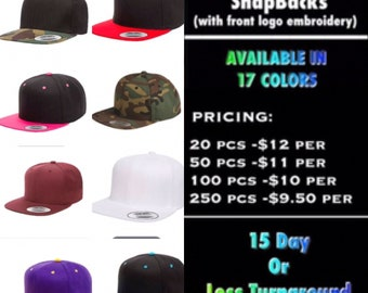 Yupoong Classic Snapback Hats ( with front logo Embroidered )