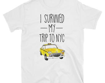 I Survived My Trip To NYC T Shirt New York City Taxi Cab Tee Spider Man Homecoming Shirt Peter Parker Shirt Yellow Taxi T Shirt