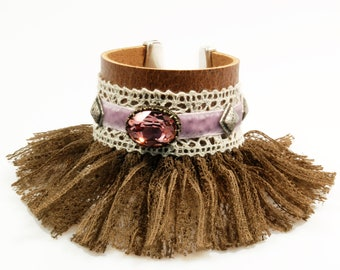 Leather cuff fringed in brown with Swarovski in old pink, shabby chic bracelet with lace - OOAK handmade jewelry SALE jewelry