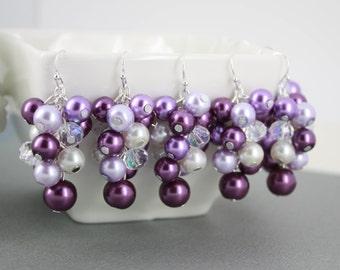 Shades of Purple Cluster Earrings Purple Pearl Earrings Purple Cluster Earrings Bridal Gift Plum Earrings