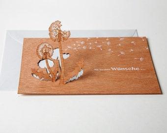 """3 pop up cards wood with envelope - """"die besten Wünsche"""" cards"""