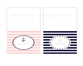 PRINTABLE Fancy Tent Tags - Pink & Navy Nautical Party Collection - Dandelion Design Studio