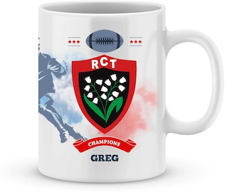 Fathers day mug RC TOULON Rugby Top 14 customize with your name - rugby - birthday gift personalized gift - gift