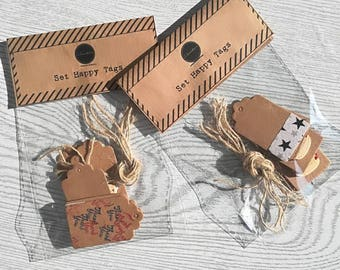 HAPPY Tags-Set of 8 tags-hand-decorated-tickets-labels-cardboard