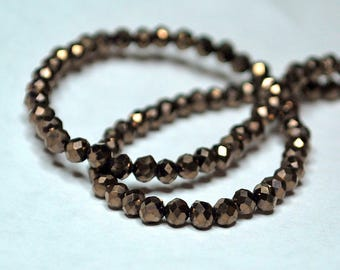 25pcs 3mm Round Metallic Antique Bronze Faceted Glass Beads  MB