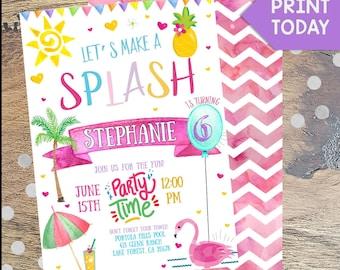 Let's Make a Splash, Watercolor Pool Invitation, Pool Party Invitation, Birthday Invitation, Party, Digital, Printables, Editable File