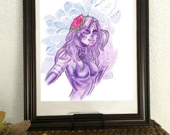 Psylocke Pin up, Dia de los muertos special, amen art