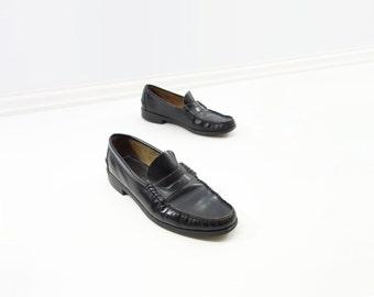 SALE Vintage Black Loafer 1970s Black Shoes Size 10 Black Loafer 70s Black Flats Slip On Flats Vintage Black Flats 70s Black Loafer Size 10