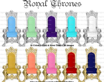 Royal Throne | 10 Colors Silver & Gold | 20 Digital Images | Clipart | Instant Download