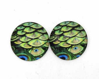 "4 cabochons round glass with image ""1"" 25mm Green and blue peacock feathers"