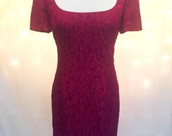 90s Sangria Floral Mini Dress Scoop Neck Short Sleeves - Size 10/12