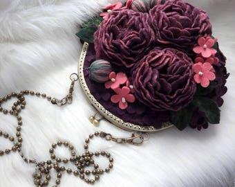 Felt flowers bag Wool felted bag Felt purse with large flowers Designer shoulder bag Felted purse Merino wool bag with wet felted flowers