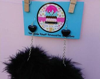 Black marabou puff earrings