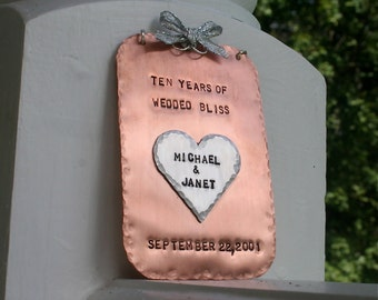 Wedded Bliss Hand-Stamped Copper/Aluminum Keepsake Ornament