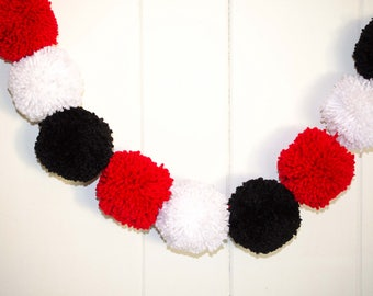 Disney Pom Pom Garland, Black, Red and White Pom Pom Garland, Jumbo Pom Poms 4 inches  Nursery Pom Poms  Photography Prop - Party Decoration