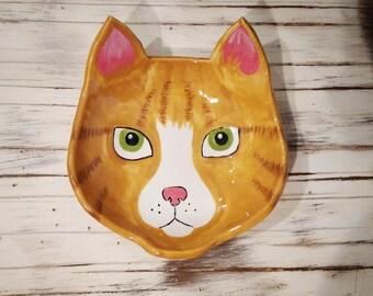 Handmade Orange Kitty Ceramic Dish