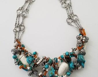 Southwestern Necklace, Bib style Necklace, Handmade Necklace, Stone Necklace, Turquoise Necklace, Women's Jewelry, Jewelry, Necklace, Gift