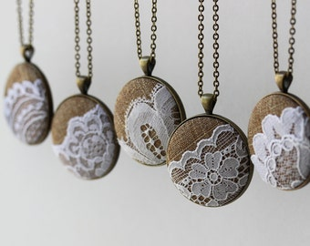 Rustic Bridesmaid Gift Set, 5 Pendant Necklaces, Unique Vintage Lace Wedding Jewelry