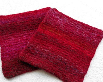 Cherry Red Knit Felted Wool Hot Pad Set Trivets, Red Boiled Wool Pot Holders, Red Wool Hotpad  Set, Red Wool Trivet Set, Housewarming Gift