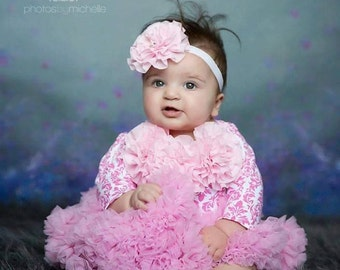 Infant Baby Girl One Piece Set Pink Damask Long Sleeve Baby Girl  Set with Pink Chiffon Flowers and Rhinestones