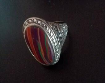 Vintage 925 Sterling Silver Oval Stone Ring Ornate Shoulder Design Bezel Setting Size 8