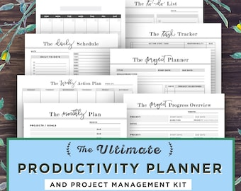 Productivity Planner Printable, Academic Planner, Project Management, Student Planner, Filofax A5, Goal Project Planner, Daily Agenda, PDF