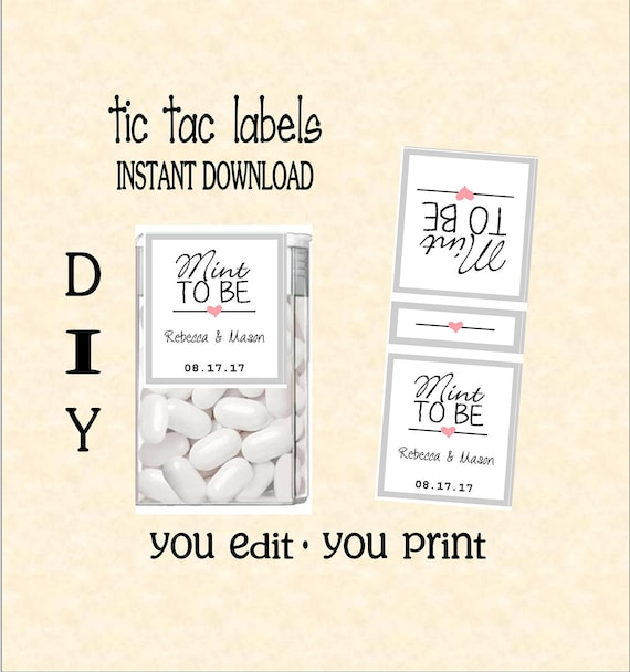 Tic tac labels mint to be wedding do it yourself instant solutioingenieria Gallery