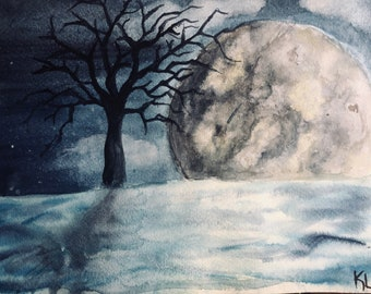 "Original watercolor painting 9x12 ""Night Sky"""