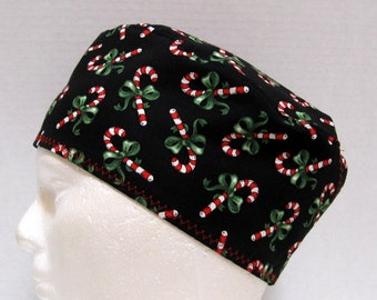 Mens Christmas Scrub Hat, Surgical Cap or Skull Cap Candy Canes on Black