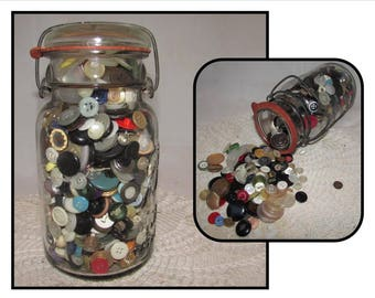Large Glass Ball Clamp Top Canning Jar FULL of Vintage Buttons, 1908