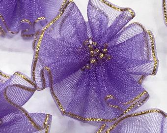 Purple Ribbon Flowers-Purple Flowers-Ribbon Flowers-Artificial Flowers-Flowers