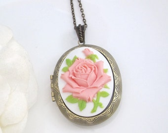 Classic Pink Rose Cameo Large Oval Locket Necklace. Vintage Style Locket Necklace