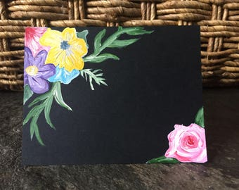 Hand Painted Floral Black Greeting Card
