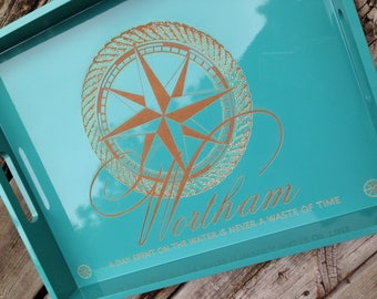 Personalized Engraved Lacquered Tray - A Day Spent On The Water Is Never A Waste Of Time
