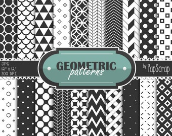 "Black and white digital paper : ""Geometric Patterns"" - black and white geometric patterns for scrapbooking, invites, card making / doodles"