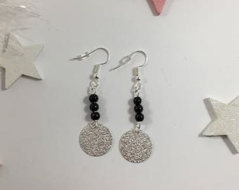 Feeding and sequined silver medal beads earrings