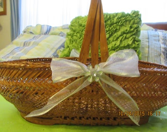 Basket Gathering Large Unique Vintage Cottage Chic Wicker Basket White Accents  Bows and Bling Flowers Centerpiece Home Decor Gift Storage