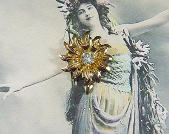 Vintage EISENBERG ICE Rhinestone and Gold Flower Brooch  - BR-574 - Eisenberg Rhinestone Brooch - Eisenberg Ice Flower Brooch