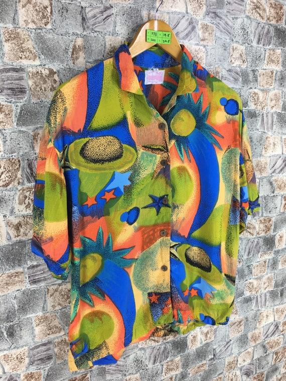 Silk M Art Abstract Multicolour Style Shirt Boy Vintage Hawaiian Shirt Party Pop Multicolour Colorful Vintage Size Medium Baroque Abstract PUn1E0n