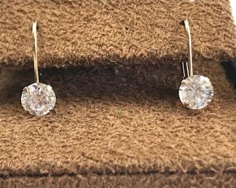 14K Yellow Gold Cubic Zirconia Diamonique Round Leverback Dangle Earrings, 14k 585 Cz DQ