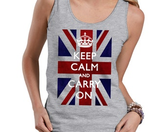 Keep Calm And Carry On Tank Top Keep Calm Classic Style Ladies Tank Top