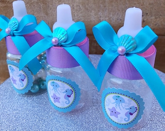 12 Turquoise and purple baby shower- under the sea baby shower-mermaid baby shower favors-under the sea party favor- mermaid party favor-sea
