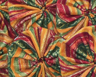 glittery festive fabric 2 inch yoyos embellishments-matching lot of 6