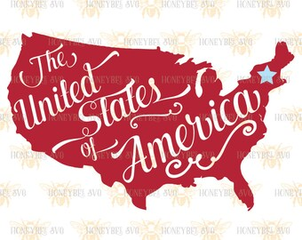 United States Map with Star svg Patriotic svg 4th of July svg America svg Americana svg Proud American svg Silhouette svg Cricut svg