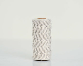 Silver/Natural Cotton Baker Twine - 100m