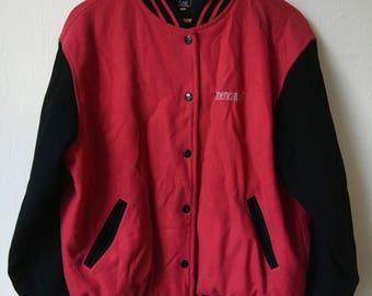 Amerikanische Mädchen rot & Schwarz gesteppte Varsity Jacke Kinder Mädchen Sz L