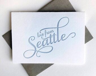 Letterpress Regional Love card - Love from Seattle - Boxed set of 6