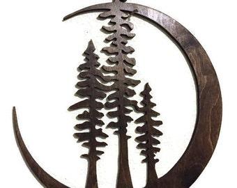 Laser cut wood art, laser cut wall art, Cresent moon with trees